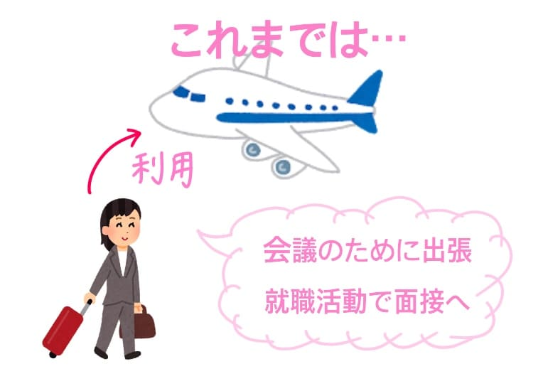 飛行機を利用する女性